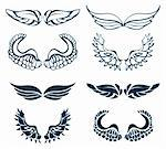 Wing Set, vector decor elements Stock Photo - Royalty-Free, Artist: icons                         , Code: 400-04320523