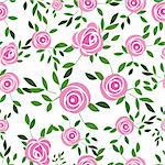 Seamless  flower background with rose and leaves, element for design, vector illustration.Vector version of this image also available in my portfolio
