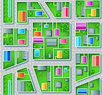 Seamless city suburb plan with houses, trees and roads Stock Photo - Royalty-Free, Artist: sahua                         , Code: 400-04320603