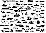 big collection of transportation silhouette - vector Stock Photo - Royalty-Free, Artist: paunovic                      , Code: 400-04320793