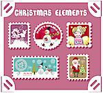 winter postage set Stock Photo - Royalty-Free, Artist: icons                         , Code: 400-04320937