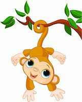 Illustration of Cute baby monkey on a tree Stock Photo - Royalty-Freenull, Code: 400-04321513