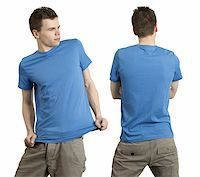 Young male with blank blue t-shirt, front and back. Ready for your design or logo. Stock Photo - Royalty-Freenull, Code: 400-04321677