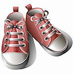 Pink children's shoes isolated on a white background. Vector illustration. Stock Photo - Royalty-Free, Artist: ElaKwasniewski                , Code: 400-04321852