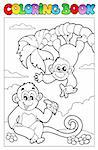 Coloring book with two monkeys - vector illustration. Stock Photo - Royalty-Free, Artist: clairev                       , Code: 400-04322839