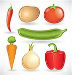 Vector set of various vegetables on a white background Stock Photo - Royalty-Free, Artist: ThomasAmby                    , Code: 400-04323079