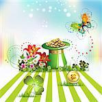 St. Patrick's Day card design with topper, flowers, butterflies and clover Stock Photo - Royalty-Free, Artist: Merlinul                      , Code: 400-04324445