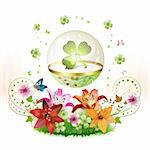 Clover in glass globe with flowers and butterflies for St. Patrick's Day Stock Photo - Royalty-Free, Artist: Merlinul                      , Code: 400-04325006
