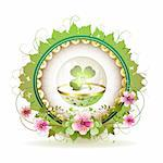 Circular floral frame with clover in glass globe and gold decoration for St. Patrick's Day Stock Photo - Royalty-Free, Artist: Merlinul                      , Code: 400-04325039