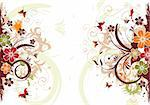 Abstract grunge flower frame with butterfly, element for design, vector illustration