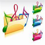 A colorful 3D folder music icon set Stock Photo - Royalty-Free, Artist: kuzzie                        , Code: 400-04325286