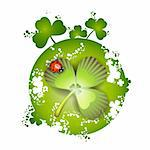 St. Patrick's Day card design and clover and ladybug Stock Photo - Royalty-Free, Artist: Merlinul                      , Code: 400-04325363