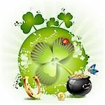 St. Patrick's Day card design with butterfly and clover Stock Photo - Royalty-Free, Artist: Merlinul                      , Code: 400-04325365