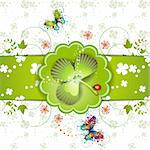 St. Patrick's Day card design with butterflies, clover and ladybug Stock Photo - Royalty-Free, Artist: Merlinul                      , Code: 400-04325457