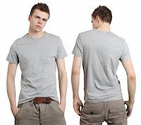 Young male with blank gray t-shirt, front and back. Ready for your design or logo. Stock Photo - Royalty-Freenull, Code: 400-04325857