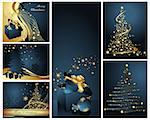 Merry Christmas and Happy New Year collection gold and blue Stock Photo - Royalty-Free, Artist: jelen80                       , Code: 400-04326586