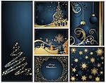 Merry Christmas and Happy New Year collection gold and blue Stock Photo - Royalty-Free, Artist: jelen80                       , Code: 400-04326588