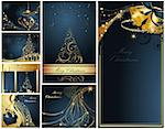 Merry Christmas and Happy New Year collection gold and blue Stock Photo - Royalty-Free, Artist: jelen80                       , Code: 400-04326727