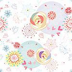 seamless multi-colored floral pattern on a white background Stock Photo - Royalty-Free, Artist: tanor                         , Code: 400-04326827