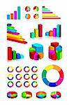 set of shiny graphics and diagrams on white background. EPS v.8.0