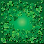 Background with clovers for St.Patrick`s day with one happy clover, vector illustration Stock Photo - Royalty-Free, Artist: MarketOlya                    , Code: 400-04327686