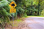 A cassowary road warning sign in the rainforest of north Queensland, Australia Stock Photo - Royalty-Free, Artist: Jaykayl                       , Code: 400-04327930