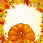 Colorful autumn card template leaves with Pumpkin and copy space. EPS 8 vector file included Stock Photo - Royalty-Free, Artist: ghostintheshell               , Code: 400-04328304
