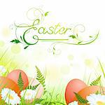 Easter theme with eggs and spring meadow Stock Photo - Royalty-Free, Artist: SNR                           , Code: 400-04329709