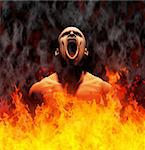 Rendered image of a man screaming in the flames of hell Stock Photo - Royalty-Free, Artist: tawng                         , Code: 400-04329786