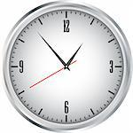 Large white wall clock on a white background Stock Photo - Royalty-Free, Artist: longquattro                   , Code: 400-04330727