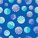 blue cyan striped candy seamless pattern on dark blue background