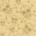 Seamless background from a skull with crossbones