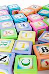 Learning and education concept - pile of alphabet blocks Stock Photo - Royalty-Free, Artist: ElnurCrestock                 , Code: 400-04331476