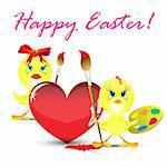 easter holiday illustration Two yellow chickens paint heart, isolated on white background Stock Photo - Royalty-Free, Artist: aarrows                       , Code: 400-04331590