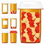 Set of prescription medicine bottles with pills isolated on a white background, vector illustration Stock Photo - Royalty-Free, Artist: MarketOlya                    , Code: 400-04331964