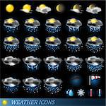Weather icons set isolated on black. Vector illustration