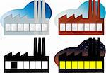 Four variations of a side view of a factory or power plant Stock Photo - Royalty-Free, Artist: theblackrhino                 , Code: 400-04332247