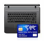 Credit card on a laptop vector illustration isolated on white background Stock Photo - Royalty-Free, Artist: sermax55                      , Code: 400-04332356
