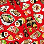 seamless Japanese food pattern Stock Photo - Royalty-Free, Artist: notkoo2008                    , Code: 400-04333141