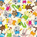 seamless summer animal pattern Stock Photo - Royalty-Free, Artist: notkoo2008                    , Code: 400-04333168
