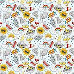 seamless weather pattern Stock Photo - Royalty-Free, Artist: notkoo2008                    , Code: 400-04333197