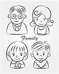 hand draw cartoon family icon Stock Photo - Royalty-Free, Artist: notkoo2008                    , Code: 400-04333201