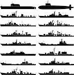 Vector illustration of various warships. Stock Photo - Royalty-Free, Artist: tshooter                      , Code: 400-04333323