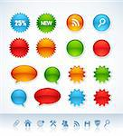 Set of colorful vector stickers and icons Stock Photo - Royalty-Free, Artist: ThomasAmby                    , Code: 400-04333391