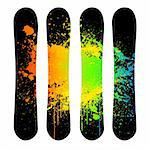 Vector art snowboard set with grunge illustration Stock Photo - Royalty-Free, Artist: emaria                        , Code: 400-04333816