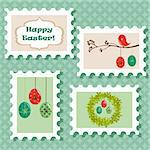 Easter postal stamps set, vector illustration Stock Photo - Royalty-Free, Artist: kariiika                      , Code: 400-04334054