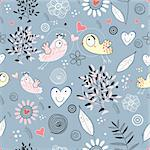 seamless floral pattern with birds in love with a blue background Stock Photo - Royalty-Free, Artist: tanor                         , Code: 400-04334509