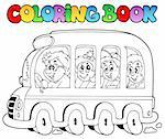 Coloring book with school bus - vector illustration. Stock Photo - Royalty-Free, Artist: clairev                       , Code: 400-04334539