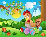 Meadow with hen and Easter eggs - vector illustration. Stock Photo - Royalty-Free, Artist: clairev                       , Code: 400-04334558