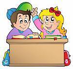 Two children at school desk - vector illustration.
